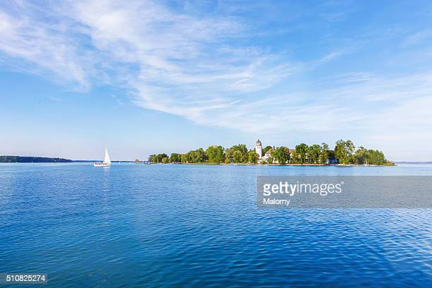 fraueninsel, women's island, lake chiemsee, chiemgau, bavaria, germany, europe - lakeshore stock pictures, royalty-free photos & images