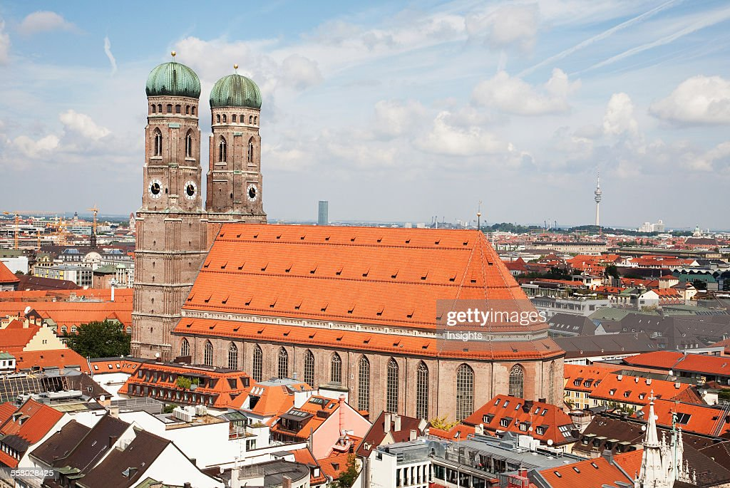 Frauenkirche As Seen From The Church Of St. Peter Bell Tower, Munich, Bavaria, Germany : News Photo