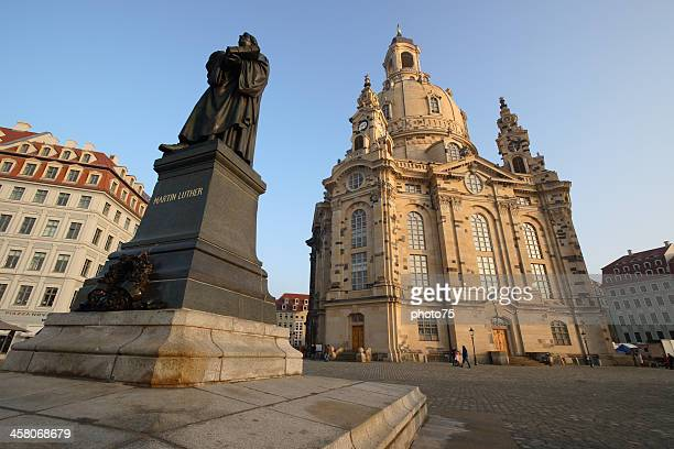 frauenkirche dresden and martin luther statue - martin luther stock photos and pictures