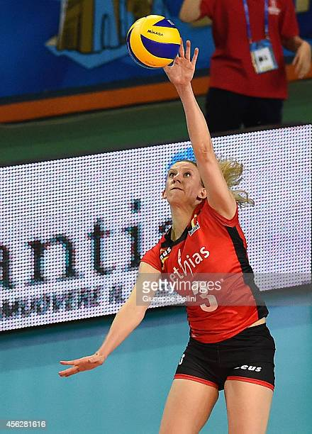 Frauke Dirickx of Belgium in action during the FIVB Women's World Championship pool D match between Belgium and Puerto Rico on September 28 2014 in...