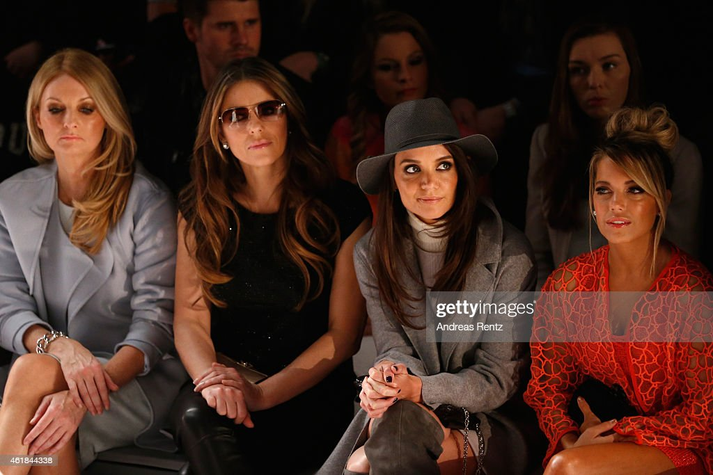Frauke Ludowig, Elizabeth Hurley, Katie Holmes and Sylvie Meis attend the Marc Cain show during the Mercedes-Benz Fashion Week Berlin Autumn/Winter 2015/16 at Brandenburg Gate on January 20, 2015 in Berlin, Germany.