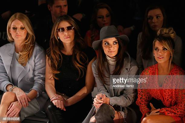 Frauke Ludowig Elizabeth Hurley Katie Holmes and Sylvie Meis attend the Marc Cain show during the MercedesBenz Fashion Week Berlin Autumn/Winter...