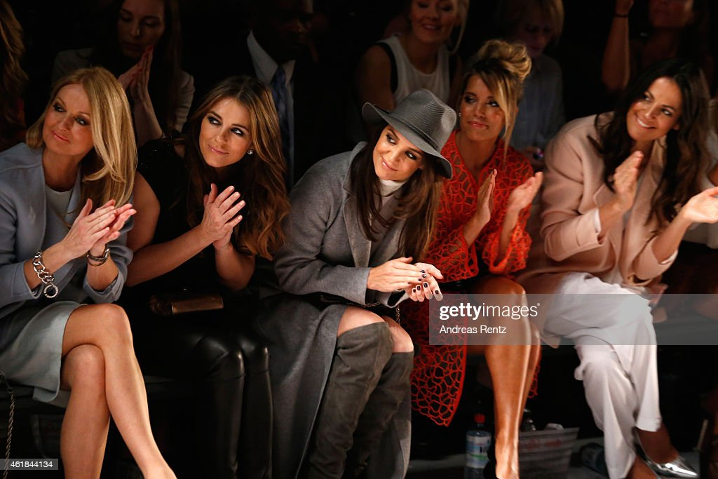 Frauke Ludowig, Elizabeth Hurley, Katie Holmes, Sylvie Meis and Bettina Zimmermann attend the Marc Cain show during the Mercedes-Benz Fashion Week Berlin Autumn/Winter 2015/16 at Brandenburg Gate on January 20, 2015 in Berlin, Germany.