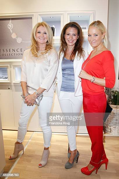 Frauke Ludowig Mara Bergmann and Janine Kunze attend the PANDORA Concept Store Opening on August 27 2015 in Cologne Germany