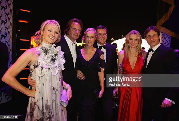Frauke Ludowig, partner Kai Roeffen, Katja Burkhard, partner Hans Mahr, Jette Joop and partner Christian Elsen arrive to the Bambi Awards 2009 after...