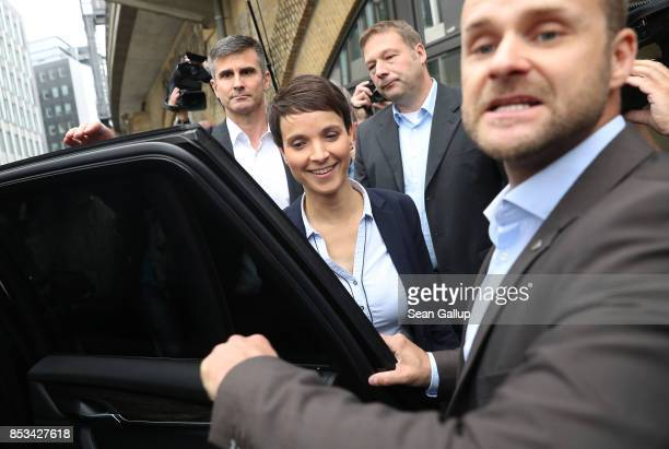 Frauke Petry a leading member of the rightwing Alternative for Germany walks to a waiting car after announcing she is quitting the party in a...