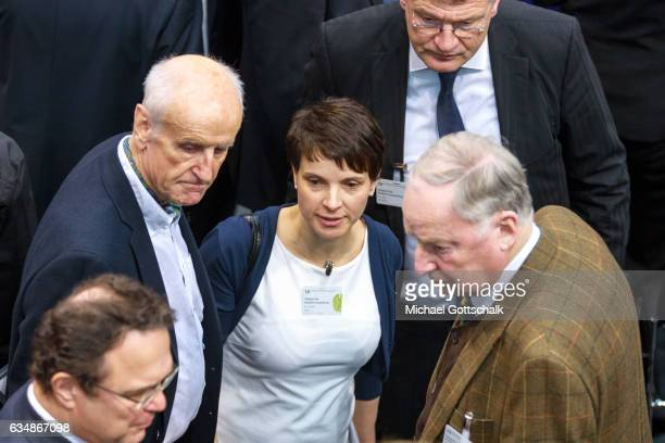 Frauke Petry Alexander Gauland and Joerg Meuthen politicans of right wing party Alternative fuer Deutschland AFD attend nest to their candidate...