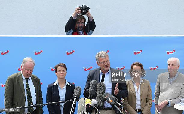 Frauke Petry and Joerg Meuthen the new cospeakers and main leaders of the Alternative fuer Deutschland political party as well as deputy speakers...