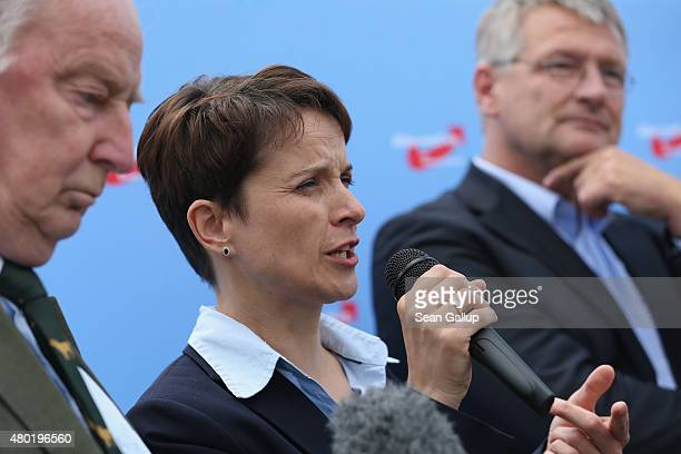 Frauke Petry and Joerg Meuthen the new cospeakers and main leaders of the Alternative fuer Deutschland political party as well as deputy speaker...