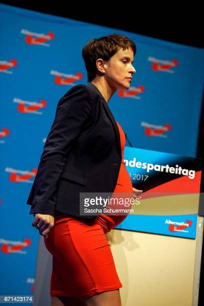 Frauke Petry Chairwoman of the AfD arrives for the federal congress of the rightwing populist Alternative for Germany political party on April 22...