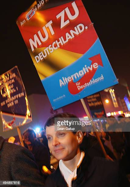 Frauke Petry Chairwoman of the AfD political party marches with supporters prior to an AfD rally on October 29 2015 in Dessau Germany The AfD which...