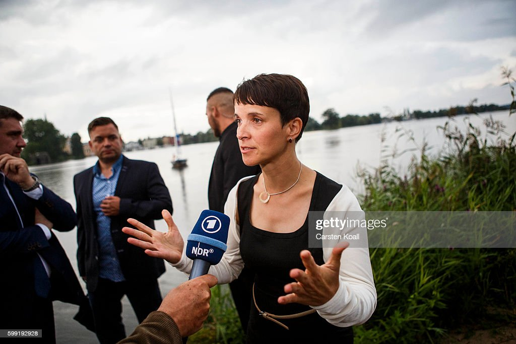 Frauke Petry, Chairwoman of the Alternative for Germany (Alternative fuer Deutschland, or AfD), a newcomer, populist party that also attracts right-wing voters, visits the election party after first numbers of elections results gave the AfD 21,5 % of the vote in state elections in the German state of Mecklenburg-Western Pomerania on September 4, 2016 in Schwerin, Germany. While the German Social Democrats (SPD) came in a very strong first place, the German Christian Democrats (CDU), who had been neck and neck with the SPD in polls in weeks before the elections, lost ground in what many see as a reflection of declining support for German Chancellor Angela Merkel, who is also CDU chairwoman. Meanwhile the AfD will certainly be a major opposition force in the state parliament.