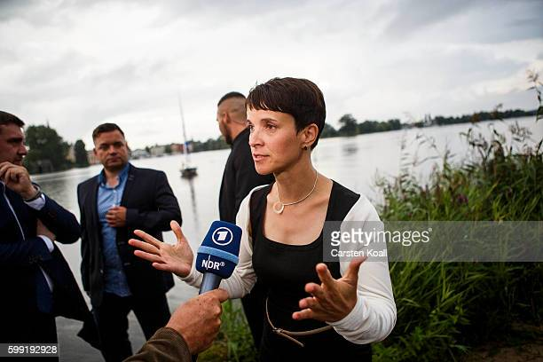 Frauke Petry Chairwoman of the Alternative for Germany a newcomer populist party that also attracts rightwing voters visits the election party after...