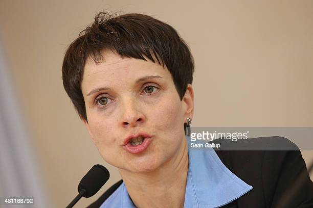 Frauke Petry Chairwoman of the Saxony branch of the AfD political party speaks to the media at the Saxony State Parliament on January 8 2015 in...