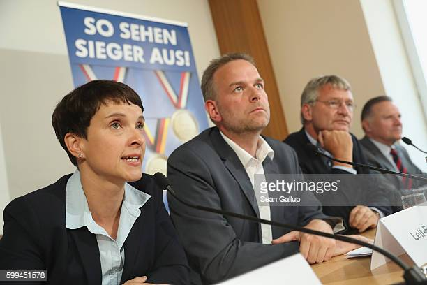 Frauke Petry cohead of the Alternative fuer Deutschland political party lead AfD candidate in MecklenburgWestern Pomerania LeifErik Holm AfD cohead...