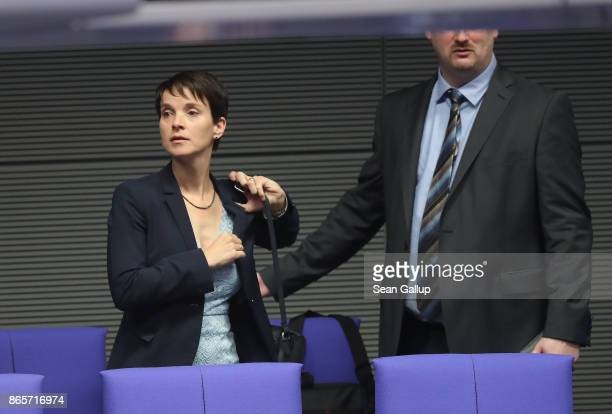 Frauke Petry formerly of the rightwing Alternative for Germany and now an independent arrives for the opening session of the new Bundestag on October...