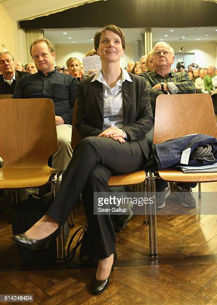 Frauke Petry head of the AfD political party arrives to speak to supporters at an AfD BadenWuerttemberg state election campaign gathering on March 7...