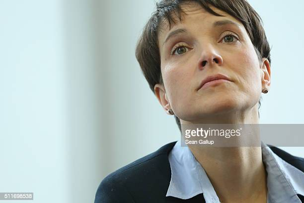 Frauke Petry head of the AfD political party speaks to the foreign journalists' association on February 22 2016 in Berlin Germany The AfD which has...