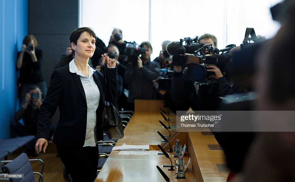 Frauke Petry, head of the Alternative fuer Deutschland (Alternative for Germany, AfD) political party arrives for a press conferene at Bundespressekonferenz on March 14, 2016 in Berlin, Germany. Voters went to the polls yesterday in Rhineland-Palatinate, Saxony-Anhalt and Baden-Wuerttemberg and the right-leaning populist Alternative fuer Deutschland (Alternative for Germany,AfD) scored double-digit results in all three, dealing a blow to Germany's established parties, especially to the CDU. Merkel's liberal immigration policy towards migrants and refugees was a major issue in the elections and the AfD aimed its campaign at Germans who are uneasy with so many newcomers.