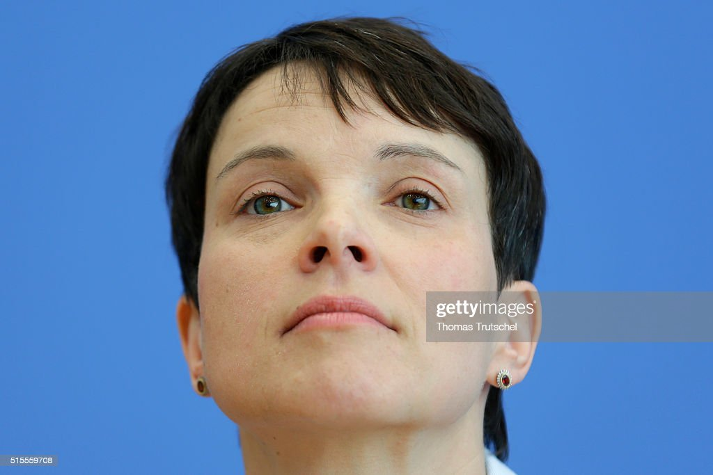 Frauke Petry, head of the Alternative fuer Deutschland (Alternative for Germany, AfD) political party speaks to the media at Bundespressekonferenz on March 14, 2016 in Berlin, Germany. Voters went to the polls yesterday in Rhineland-Palatinate, Saxony-Anhalt and Baden-Wuerttemberg and the right-leaning populist Alternative fuer Deutschland (Alternative for Germany,AfD) scored double-digit results in all three, dealing a blow to Germany's established parties, especially to the CDU. Merkel's liberal immigration policy towards migrants and refugees was a major issue in the elections and the AfD aimed its campaign at Germans who are uneasy with so many newcomers.