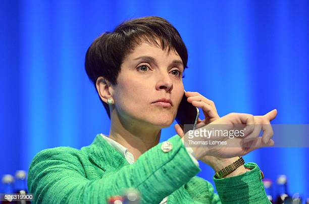 Frauke Petry head of the Alternative fuer Deutschland political party pictured at the party's federal congress on April 30 2016 in Stuttgart Germany...