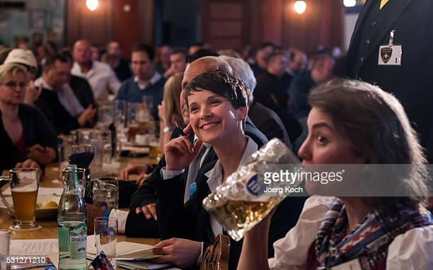 Frauke Petry head of the Alternative fuer Deutschland political party attends a AfD gathering in Hofbraeukeller Restaurant on May 13 2016 in Munich...