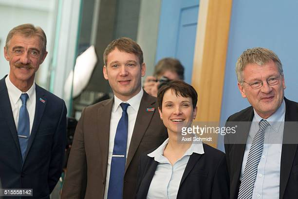 Frauke Petry head of the rightleaning populist Alternative fuer Deutschland political party and Uwe Junge AfD candidate in RhinelandPalatinate Andre...