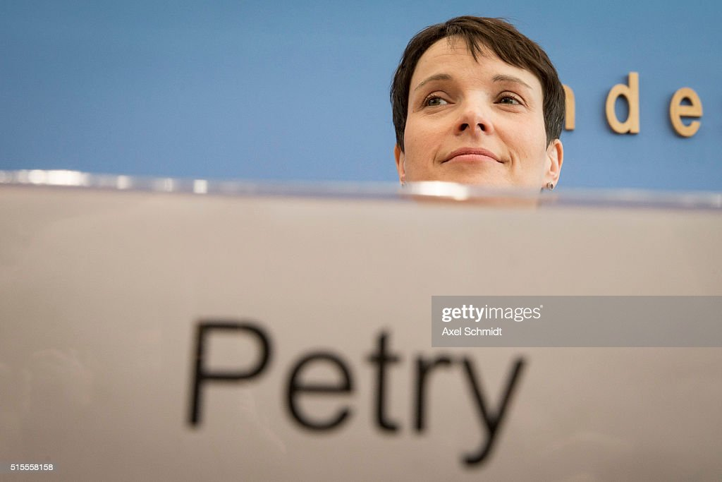 Frauke Petry, head of the right-leaning populist Alternative fuer Deutschland (Alternative for Germany, AfD) political party, arrives to speak to the media following elections in three German states on March 14, 2016 in Berlin, Germany. Voters went to the polls yesterday in Rhineland-Palatinate, Saxony-Anhalt and Baden-Wuerttemberg and the AfD scored double-digit results in all three, dealing a blow to Germany's established parties, especially to the German Christian Democrats (CDU) of Chancellor Angela Merkel. Merkel's liberal immigration policy towards migrants and refugees was a major issue in the elections and the AfD aimed its campaign at Germans who are uneasy with so many newcomers.