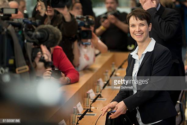 Frauke Petry head of the rightleaning populist Alternative fuer Deutschland political party arrives to speak to the media following elections in...