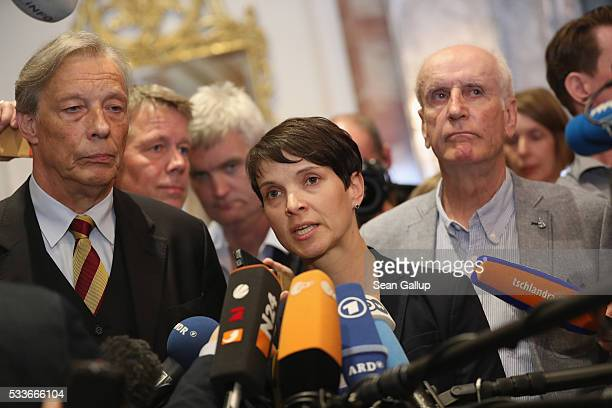Frauke Petry head of the rightwing populist Alternative fuer Deutschland political party AfD politician ArminPaul Hampel and AfD politician Albrecht...