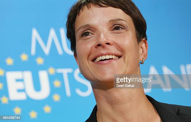 Frauke Petry lead candidate for the AfD political party arrives to speak to the media the day after the AfD won an unexpected 97% of the popular vote...
