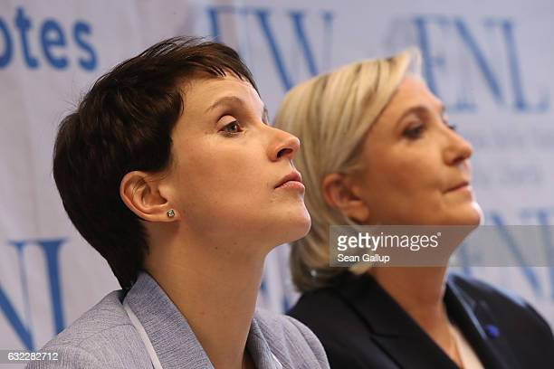 Frauke Petry leader of the Alternative for Germany and Marine Le Pen leader of the French Front National speak to the media at a conference of...