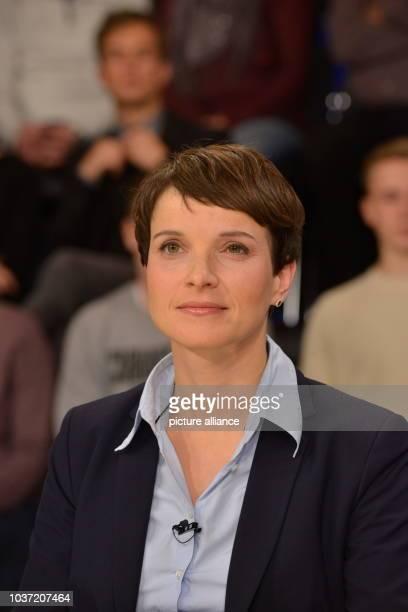 Frauke Petry national chief of political party AfD during the ZDF talk show Maybrit Illner on Moerderische Hetze zerreisst der Hass das Land the ZDF...