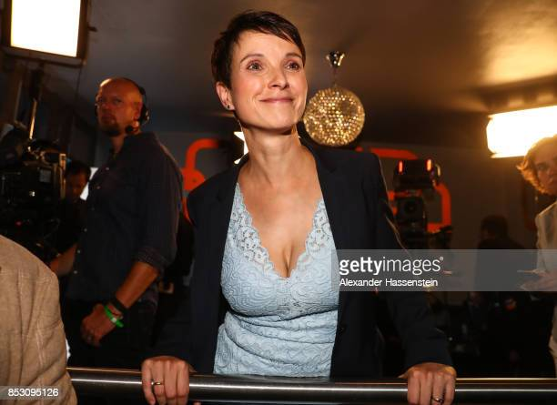 Frauke Petry of the Alternative fuer Deutschland smiles after reaching a betterthanexpected 13% and third place finish in German federal elections on...