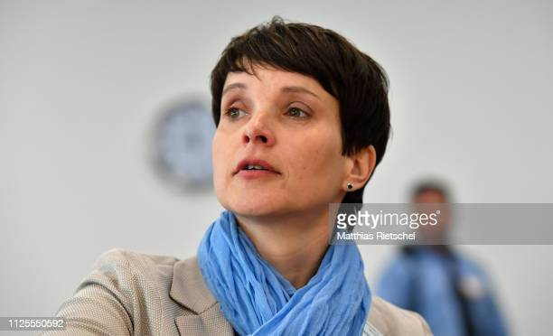 Frauke Petry once leader of the rightwing Alternative for Germany political party arrives for the first day of her trial on charges of lying under...