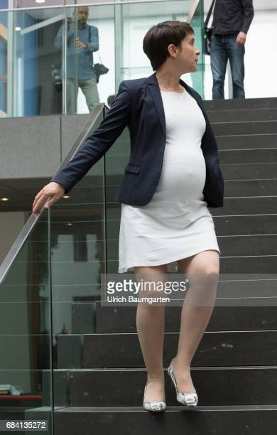Frauke Petry spokeswoman of the AfD and pregnant after the federal press conference in Berlin