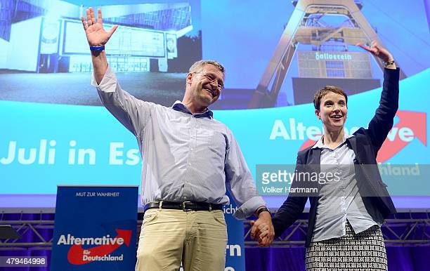Frauke Petry the new Chairwoman of the AfD and Jorg Meuthen the new coChairman receive at the AfD federal party congress on July 4 2015 in Essen...