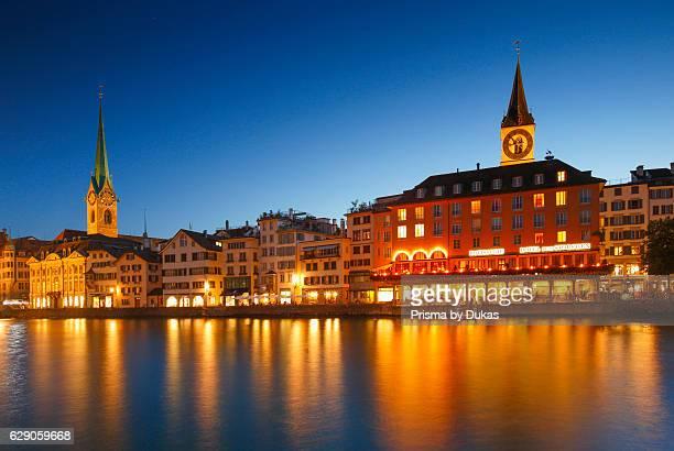 FraumÙnster and Saint Peter church in Zurich Switzerland