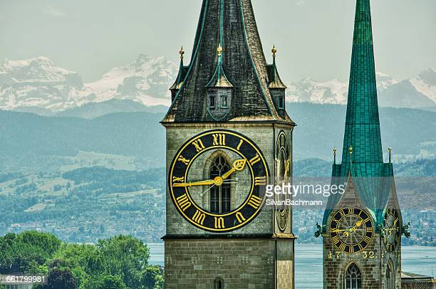 Fraumunster and St Peter church towers and clock face, Zurich, Switzerland