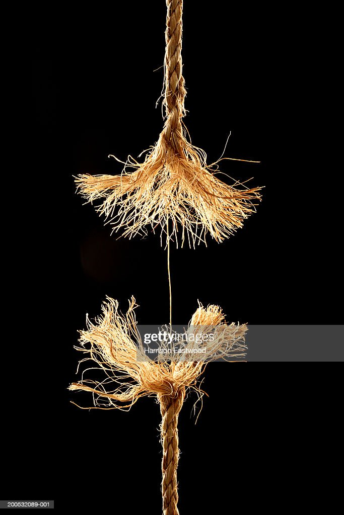 Frayed rope at breaking point, close-up : Stock Photo