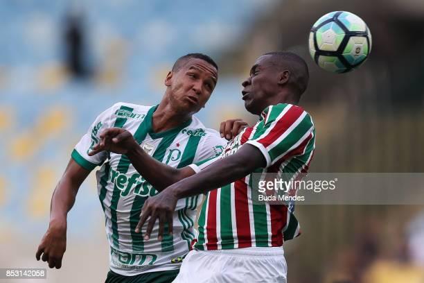 Frazan of Fluminense struggles for the ball with Deyverson of Palmeiras during a match between Fluminense and Palmeiras as part of Brasileirao Series...
