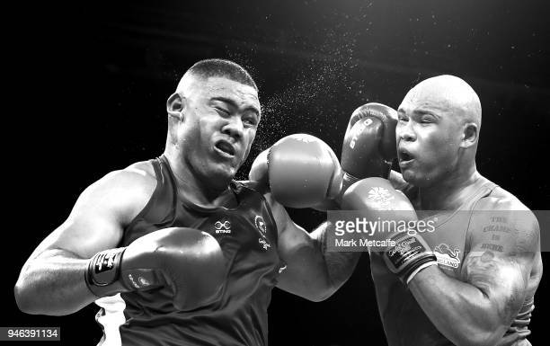 Frazer Clarke of England and Patrick Mailata of New Zealand compete in their Men's Super Heavy 91kg Semifinal bout during Boxing on day nine of the...
