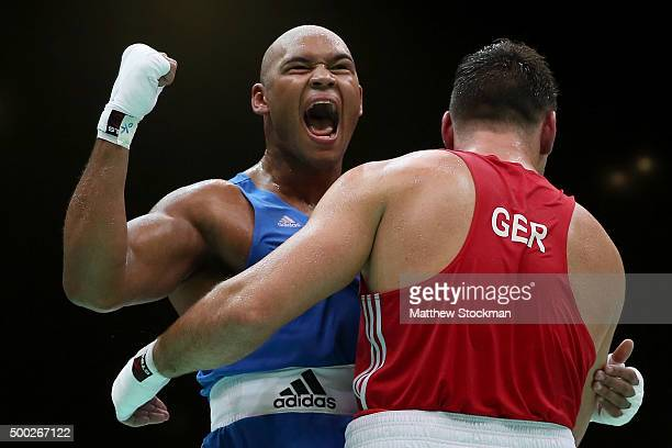 Frazer Edward Clarke of Great Britain celebrates his win over Erik Pfeifer of Germany in the Men's Super Heavy class during the International Boxing...