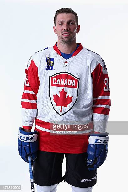 Frazer Mclaren of Canada poses for photos during the 2015 Ice Hockey Classic media opportunity at Rod Laver Arena on June 4 2015 in Melbourne...