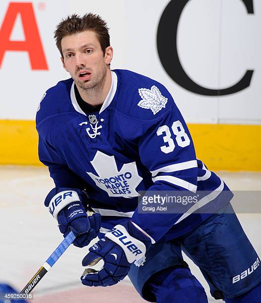 Frazer McLaren of the Toronto Maple Leafs skates during warm up prior to NHL game action against the Florida Panthers December 17 2013 at the Air...