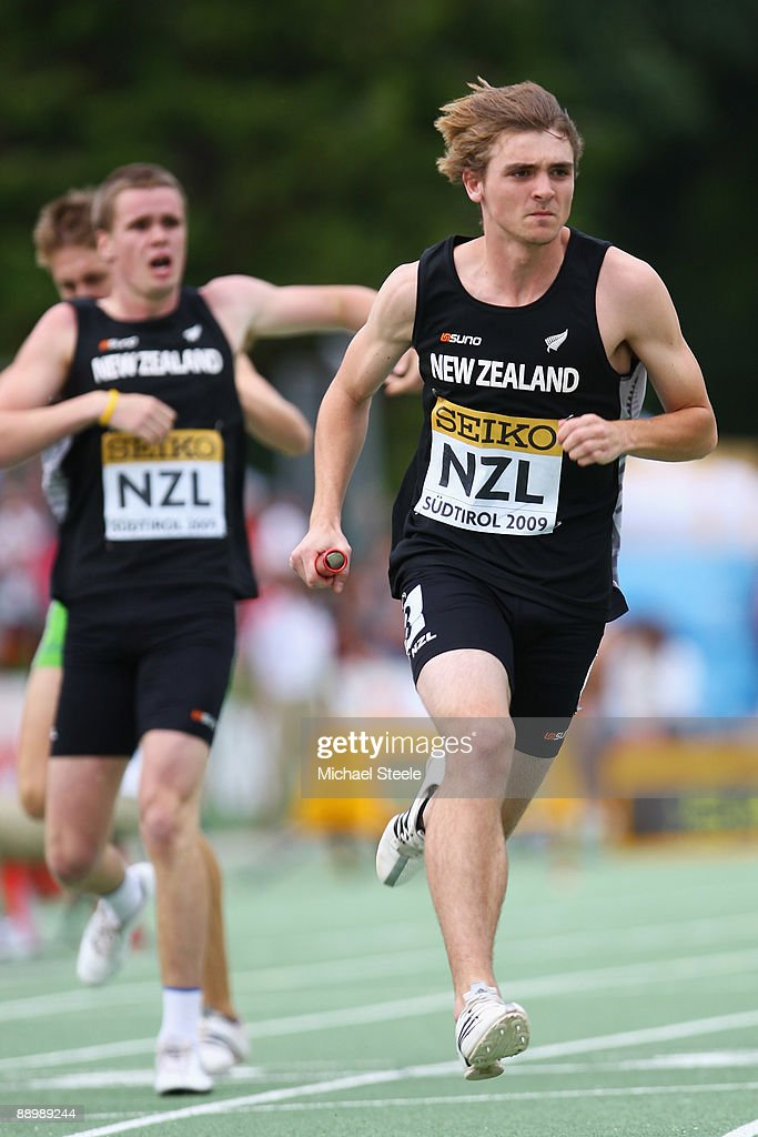 Frazer Wickes of New Zealand run in the boy's medley relay final during day five of the Iaaf World Youth Championships at the Bressanone Sports Complex on July 12, 2009 in Brixone Bressanone, Italy.