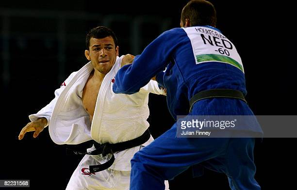 Frazer Will of Canada competes against Ruben Houkes of Netherlands during the men's 60 kg judo gold final during Day 1 of the Beijing 2008 Olympic...