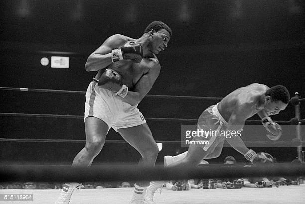 Frazier Hits the Floor Manhattan New York New York Joe Frazier falls to the canvas in the 7th round not from a blow by Buster Mathis but from a push...