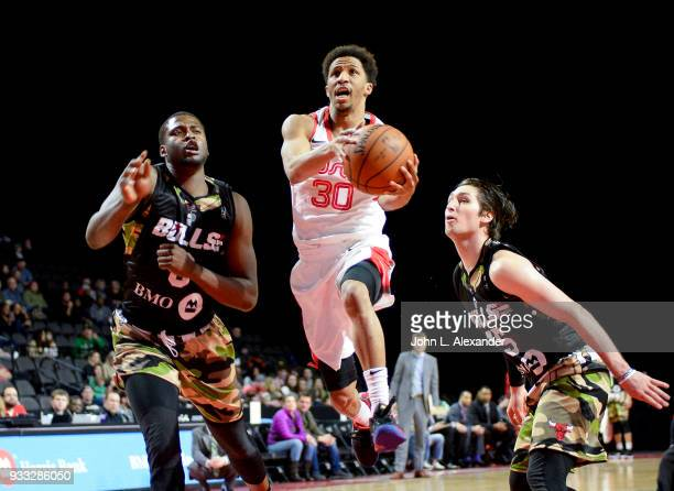J Frazier of the Memphis Hustle drive to the basket against the Windy City Bulls on March 17 2018 at the Sears Centre Arena in Hoffman Estates...