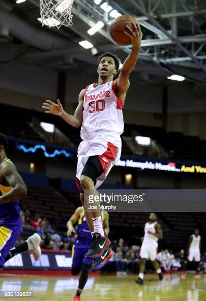 J Frazier of the Memphis Hustle dunks against the Santa Cruz Warriors during an NBA GLeague game on March 10 2018 at Landers Center in Southaven...